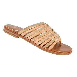 JOHNSTON & MURPHY Braided Metallic Gold Sandals